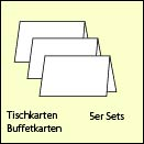 Tischkarten, Buffetkarten
