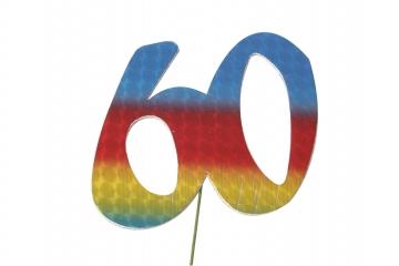 Jubiläumszahlen Jahreszahl 60 bunt Stück/1