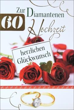 Grußkarte Skala Diamanthochzeit Rote Rosen Set/5