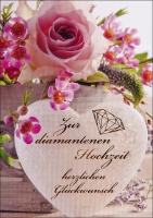 Grußkarte Skala Diamanthochzeit Blumenpracht Set/5