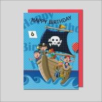 Grußkarte Skala Geburtstag Drehzahl Kinder Piratenschiff Set/5