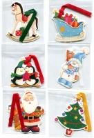 Mini-Weihnachtsanhänger Romantik mit Textilband Display/60