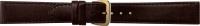 Uhrenarmband Klassik Leder mit Naht dunkelbraun 20 mm Goldschließe