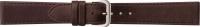 Uhrenarmband Klassik Leder mit Naht dunkelbraun 20 mm Silberschließe