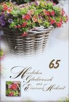 Grußkarte Skala Eiserne Hochzeit Blumenkorb Set/5