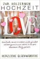 Grußkarte Skala Hölzerne Hochzeit Love Set/5